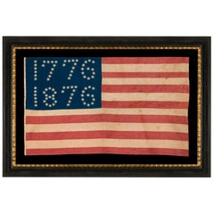 """38 Star American Flag, with Stars That Spell """"1776-1886"""" Made for the Centennial"""