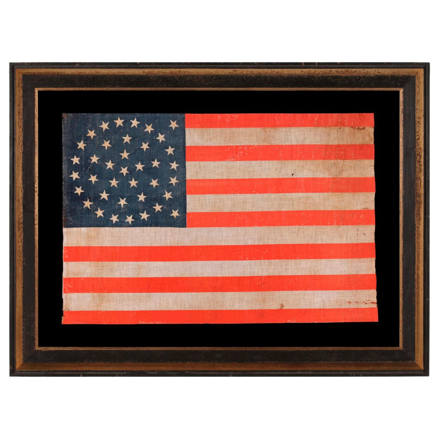 38 Star American Parade Flag, Medallion Pattern, Colorado Statehood, 1876-1889