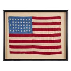 38-Star American Parade Flag, Printed on Silk, Commemorating Colorado Statehood