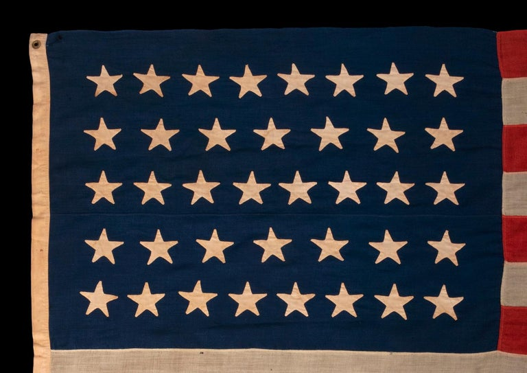 38 Star Antique American Flag with Hand-Sewn Stars, ca 1876-1889 In Good Condition For Sale In York County, PA