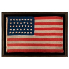 38 Star Antique American Flag with Hand-Sewn Stars, ca 1876-1889