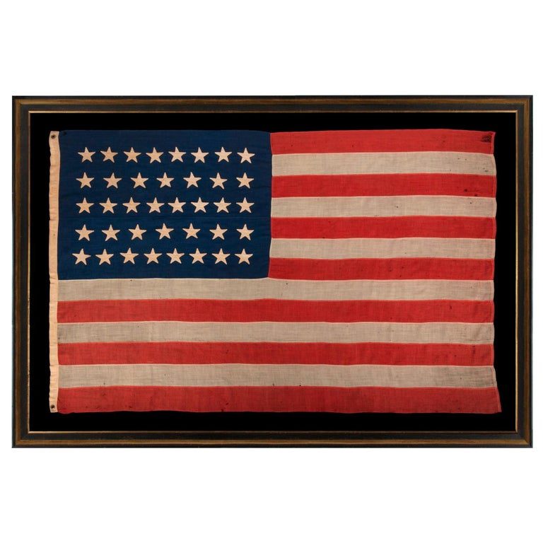 38 Star Antique American Flag with Hand-Sewn Stars, ca 1876-1889 For Sale