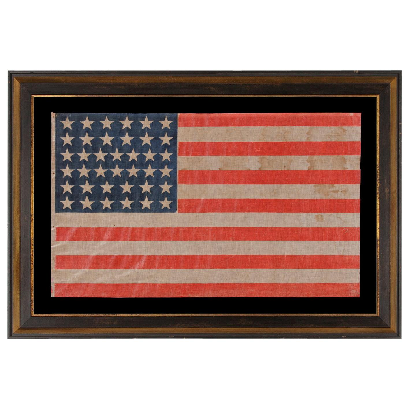 38 Star Antique American Large Scale Parade Flag, Colorado Statehood