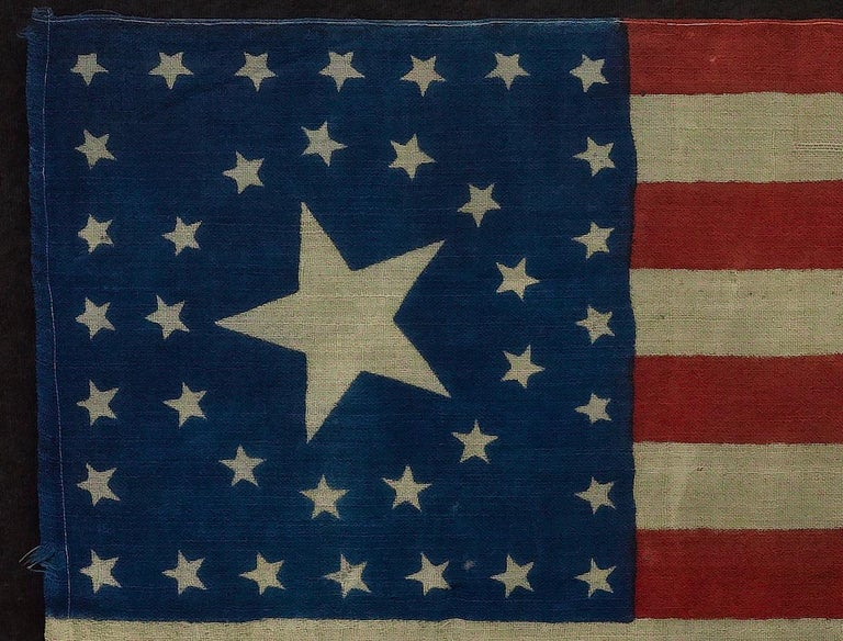 Late 19th Century 38-Star Antique American Flag with Unique Star Pattern, circa 1876 For Sale