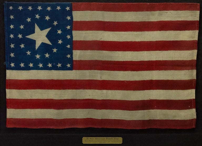 Wool 38-Star Antique American Flag with Unique Star Pattern, circa 1876 For Sale