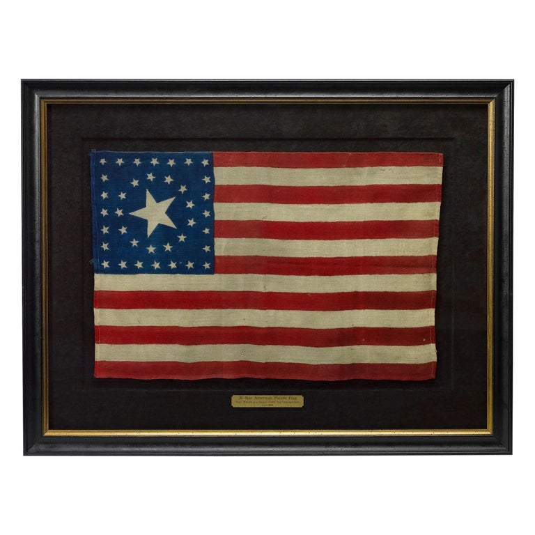 38-Star Antique American Flag with Unique Star Pattern, circa 1876 For Sale