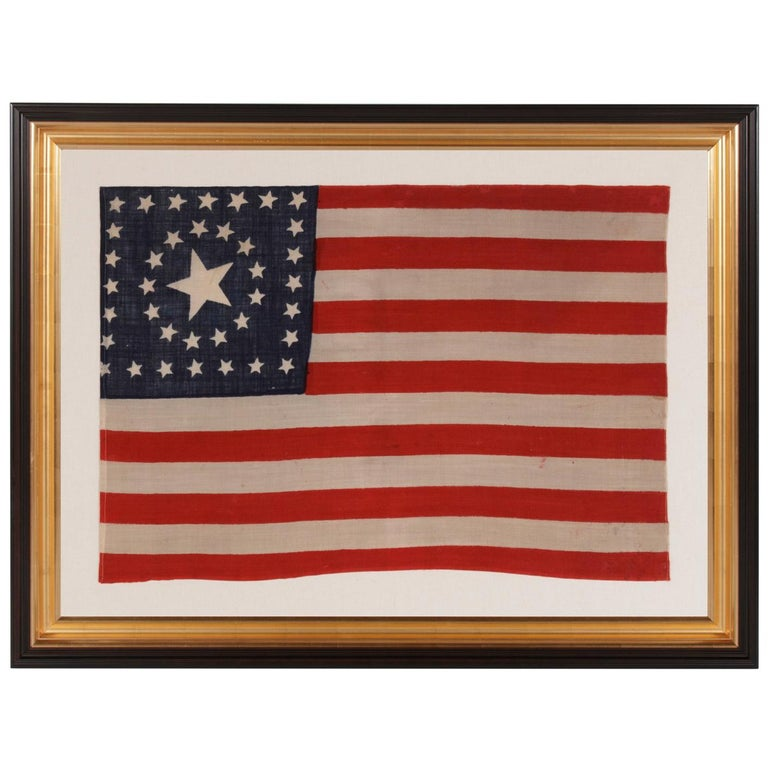 38 Star, Circle-In-A-Square Medallion American Flag, Made by Horstmann Brothers For Sale