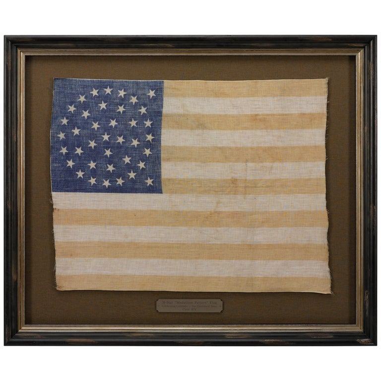 38-Star Medallion Pattern American Flag with Two Outliers, circa 1876 For Sale
