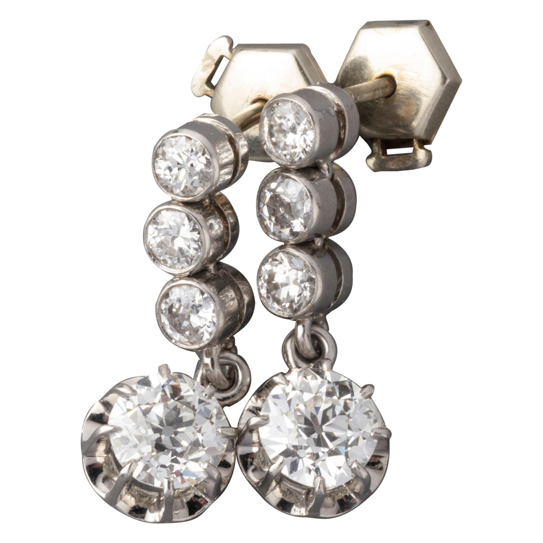 3.50 Carat Diamonds French Art Deco Earrings