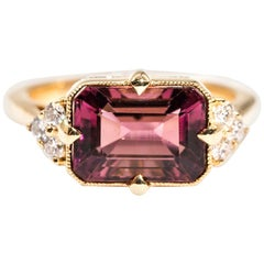 3.80 Carat Emerald Cut Red Purple Tourmaline and Diamond 18 Carat Gold Ring