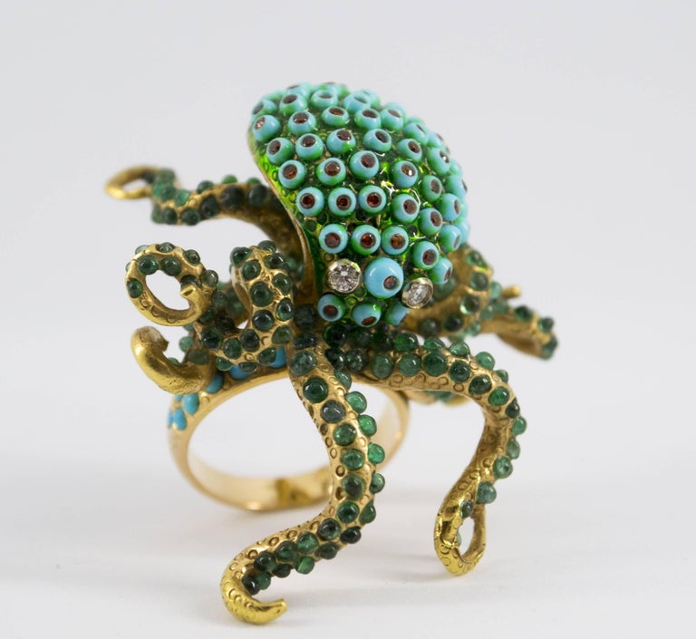 3.80 Carat Emerald Turquoise Garnet Diamond Yellow Gold Octopus Cocktail Ring For Sale 5