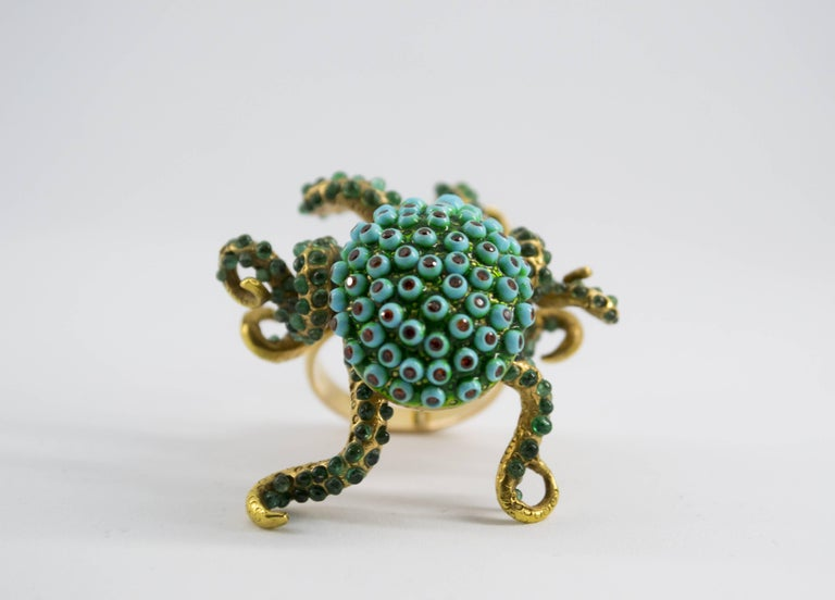 3.80 Carat Emerald Turquoise Garnet Diamond Yellow Gold Octopus Cocktail Ring For Sale 6
