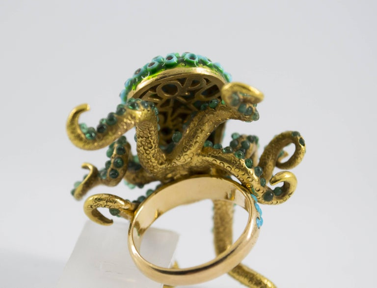 3.80 Carat Emerald Turquoise Garnet Diamond Yellow Gold Octopus Cocktail Ring For Sale 7