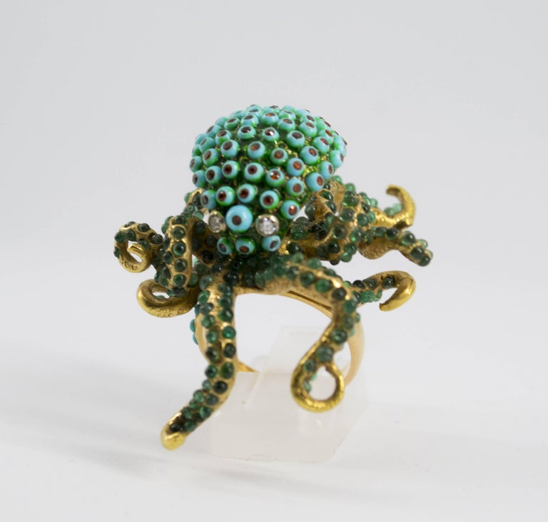 Modern 3.80 Carat Emerald Turquoise Garnet Diamond Yellow Gold Octopus Cocktail Ring For Sale