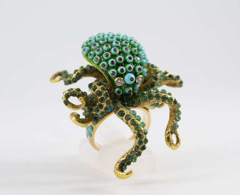 3.80 Carat Emerald Turquoise Garnet Diamond Yellow Gold Octopus Cocktail Ring In As New Condition For Sale In Naples, IT