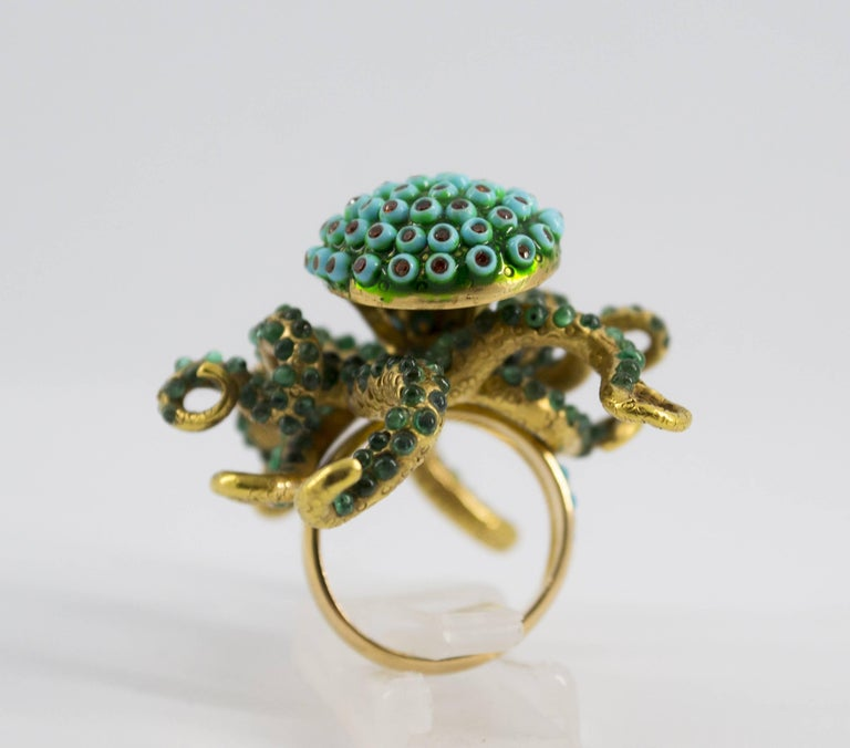 3.80 Carat Emerald Turquoise Garnet Diamond Yellow Gold Octopus Cocktail Ring For Sale 1