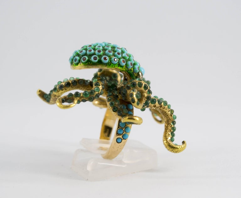 3.80 Carat Emerald Turquoise Garnet Diamond Yellow Gold Octopus Cocktail Ring For Sale 2
