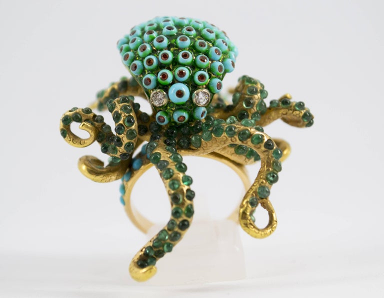 3.80 Carat Emerald Turquoise Garnet Diamond Yellow Gold Octopus Cocktail Ring For Sale 4