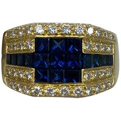3.80 Carat French Blue Sapphire and Diamond Mystery Set 18 Karat Gold Ring