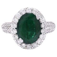 3.80 Carat Natural Emerald 18 Karat Solid White Gold Diamond Ring