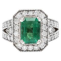3.80 Carat Natural Emerald and Diamond 14 Karat Solid White Gold Ring