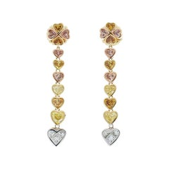 3.80 Carat Natural Fancy Colored Heart Shape Diamond Dual Tone Dangle Earrings