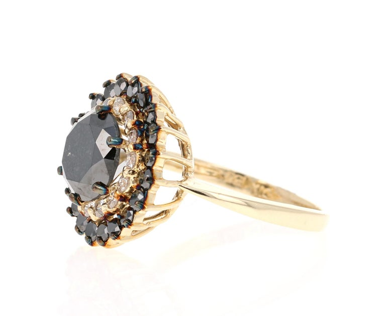 Modern 3.80 Carat Round Cut Black Diamond 14 Karat Yellow Gold Engagement Ring For Sale