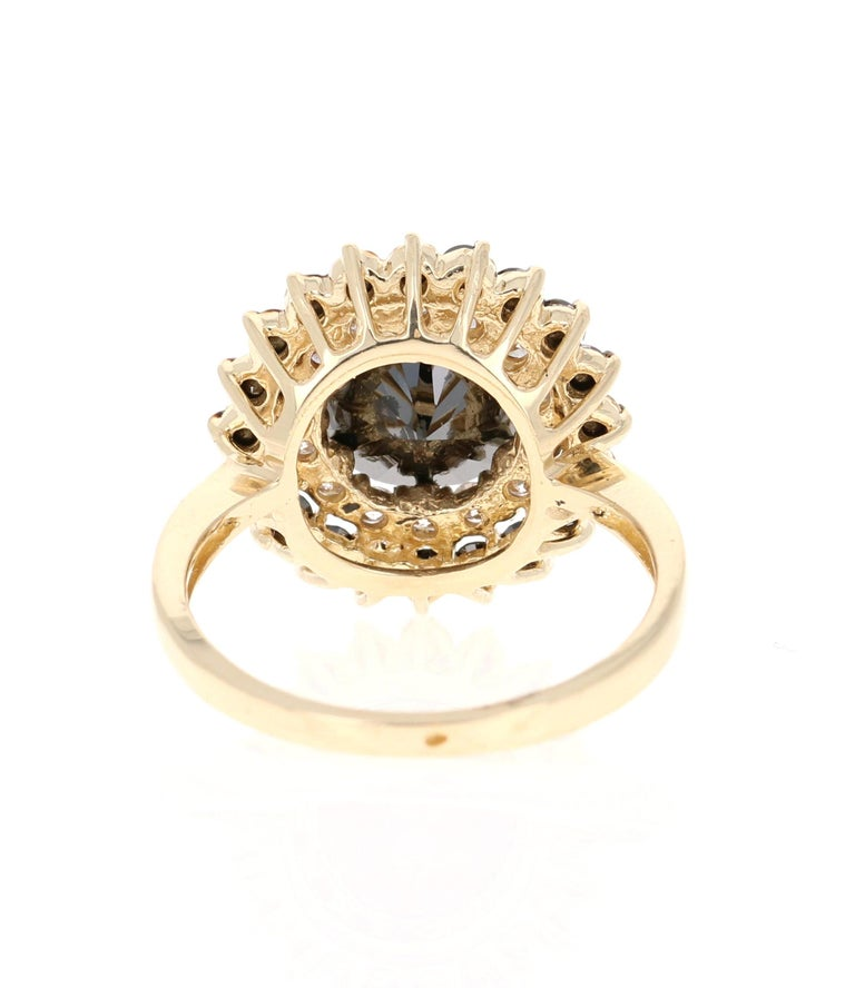 3.80 Carat Round Cut Black Diamond 14 Karat Yellow Gold Engagement Ring In New Condition For Sale In San Dimas, CA