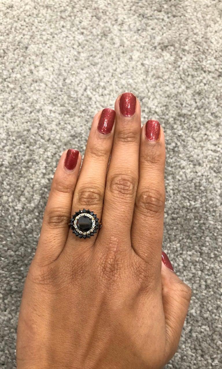 3.80 Carat Round Cut Black Diamond 14 Karat Yellow Gold Engagement Ring For Sale 1