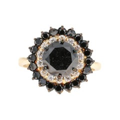 3.80 Carat Round Cut Black Diamond 14 Karat Yellow Gold Engagement Ring