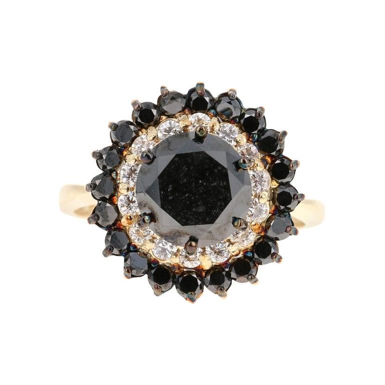 3.80 Carat Round Cut Black Diamond 14 Karat Yellow Gold Engagement Ring For Sale