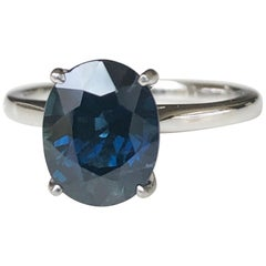 3.80 Carat Solitaire Engagement Sapphire Platinum Ring