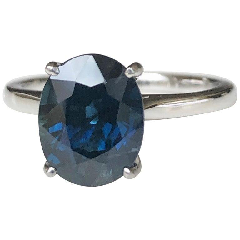 3.80 Carat Solitaire Engagement Sapphire Platinum Ring For Sale