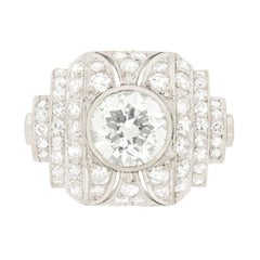 3.80 Carat Vintage Art Deco Style Diamond Ring, c.1950s