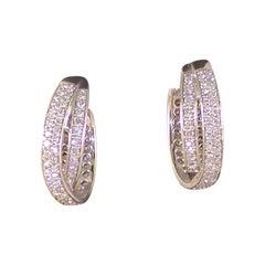 3.80 Carat White Gold Diamond Hoop Earrings