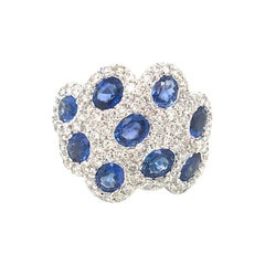 3.80 Carat Blue Sapphire and 1.69 Carat of Diamonds White Gold Band Ring