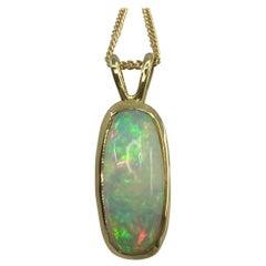 3.80ct Fine White Opal Cushion Cabochon 18 Karat Yellow Gold Pendant Necklace