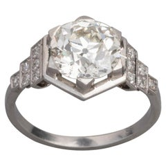 3.81 Carat French Art Deco Ring, Platinum and Diamonds