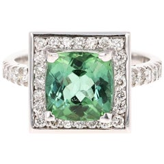 3.81 Carat Green Tourmaline Diamond 14 Karat White Gold Cocktail Ring