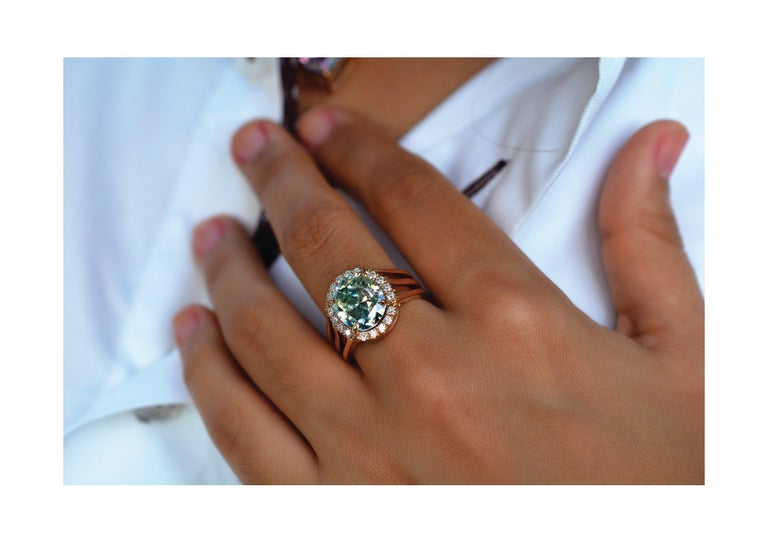 Oval Cut 3.81 Carat Oval Fancy Blueish Moissanite & Diamond 18 Karat Golden Cocktail Ring For Sale