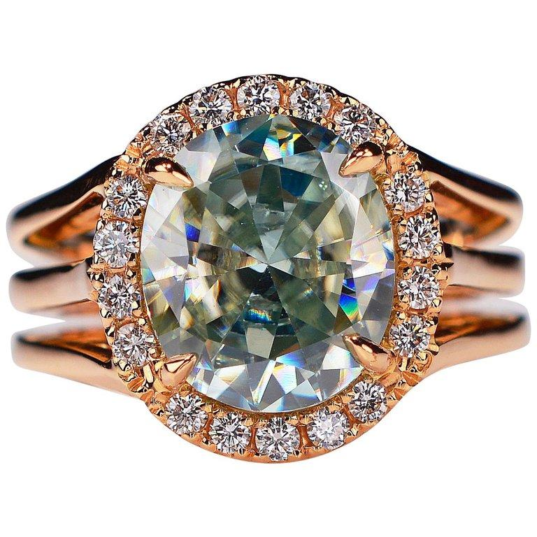 3.81 Carat Oval Fancy Blueish Moissanite & Diamond 18 Karat Golden Cocktail Ring For Sale