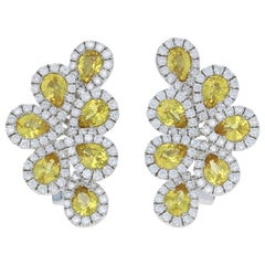 3.81 Carat Pear Cut Yellow Sapphire and Diamond Earrings, 18k White Gold Pierced
