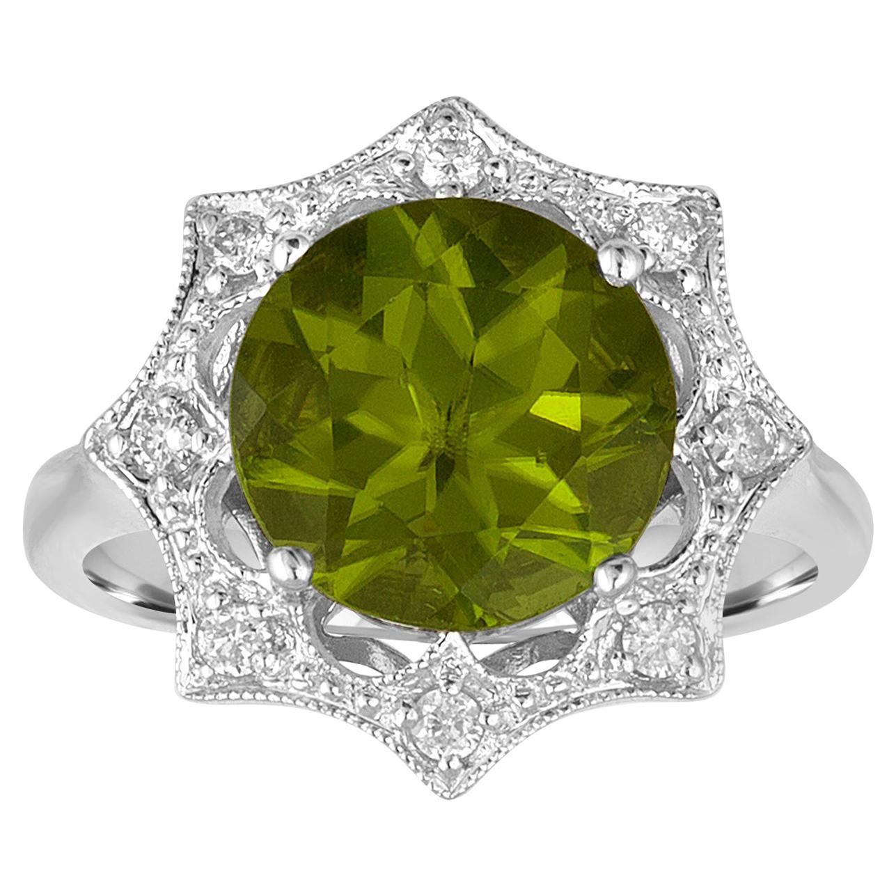 3.81 Carat Round Peridot and Diamond Gold Ring
