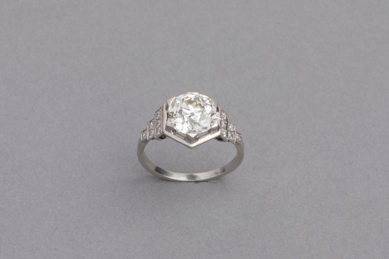Women's 3.81 Carat French Art Deco Ring, Platinum and Diamonds For Sale