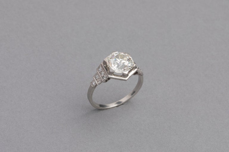3.81 Carat French Art Deco Ring, Platinum and Diamonds For Sale 1