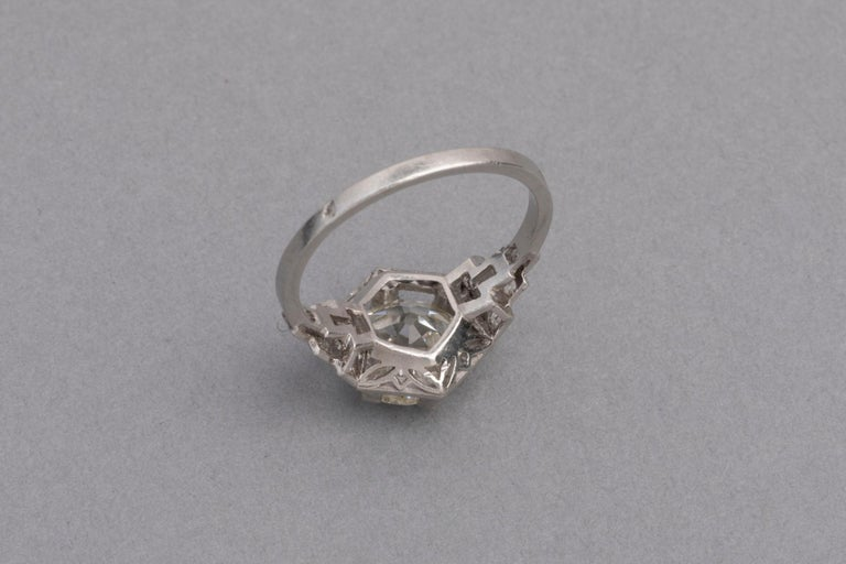 3.81 Carat French Art Deco Ring, Platinum and Diamonds For Sale 2