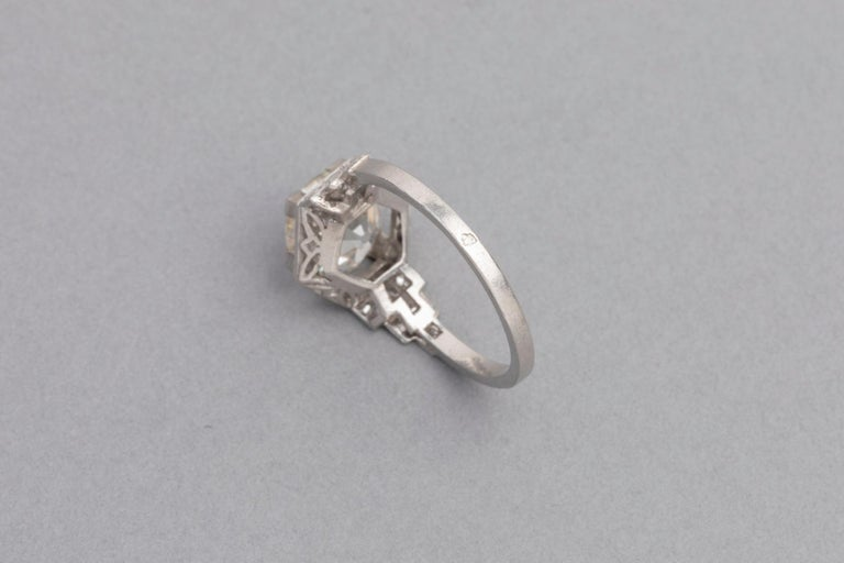 3.81 Carat French Art Deco Ring, Platinum and Diamonds For Sale 3