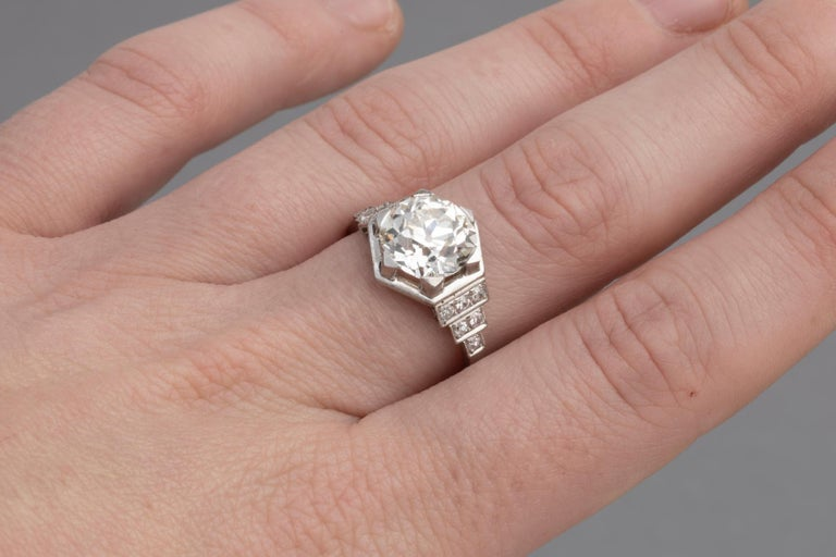 3.81 Carat French Art Deco Ring, Platinum and Diamonds For Sale 5