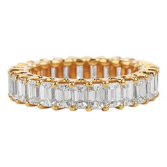 3.82 Carat Baguette Cut Diamond Yellow Gold Eternity Band Ring
