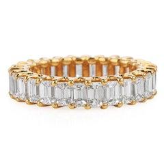 3.82 carat Baguette Cut Diamond Yellow Gold Eternity Band Ring